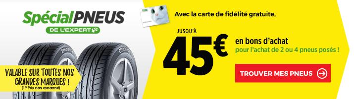 Jusqu'à 45€ en bons d'achat FEU VERT pour l'achat de pneus