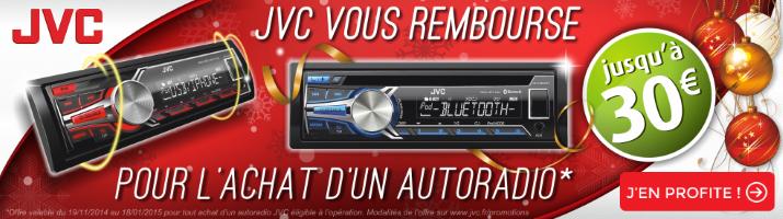 JVC vous rembourse jusqu'à 30 euros pour l'achat d'un autoradio