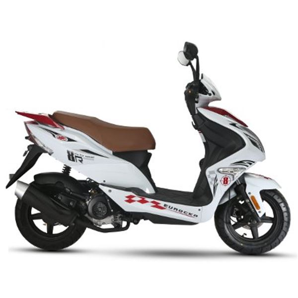 scooter 50 cc 4t r8 blanc rouge thermique eurocka feu vert. Black Bedroom Furniture Sets. Home Design Ideas