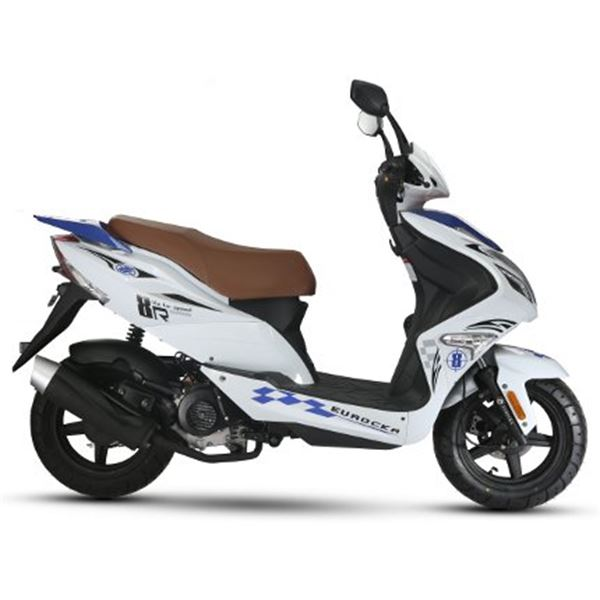 scooter 50 cc 4t r8 blanc bleu thermique eurocka feu vert. Black Bedroom Furniture Sets. Home Design Ideas