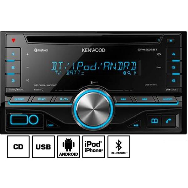 autoradio bluetooth kenwood dpx 306bt feu vert. Black Bedroom Furniture Sets. Home Design Ideas