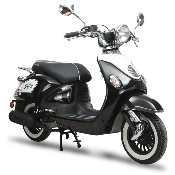 scooter thermique 50 cc 4t fifty noir brillant eurocka. Black Bedroom Furniture Sets. Home Design Ideas