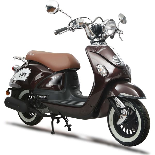 scooter thermique 50 cc 4t fifty marron brillant eurocka. Black Bedroom Furniture Sets. Home Design Ideas