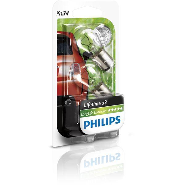 2 ampoules philips long life eco vision poire p21 5w feu vert. Black Bedroom Furniture Sets. Home Design Ideas