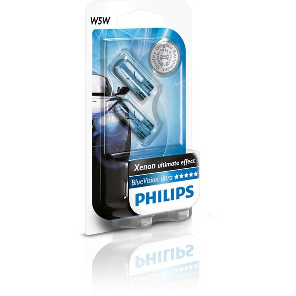 2 ampoules philips blue vision led 6000k w5w feu vert. Black Bedroom Furniture Sets. Home Design Ideas