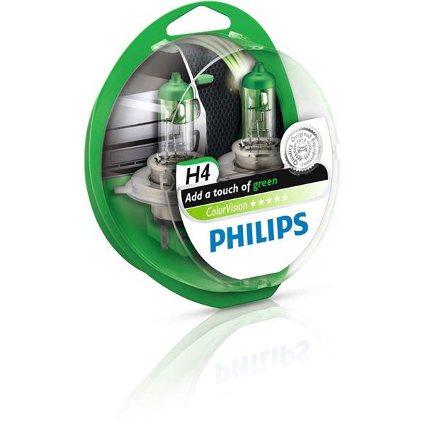 2 ampoules philips colorvision h4 de couleur verte feu vert. Black Bedroom Furniture Sets. Home Design Ideas
