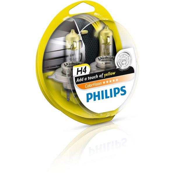 2 ampoules philips colorvision h4 de couleur jaune feu vert. Black Bedroom Furniture Sets. Home Design Ideas