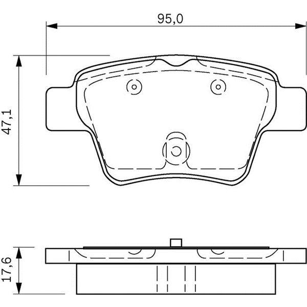 4 plaquettes de frein arri re bosch bp1009 feu vert. Black Bedroom Furniture Sets. Home Design Ideas