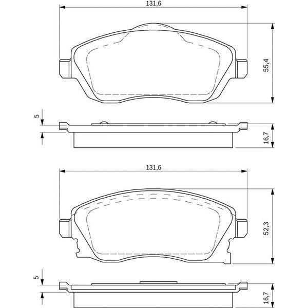 4 plaquettes de frein avant bosch bp281 feu vert. Black Bedroom Furniture Sets. Home Design Ideas