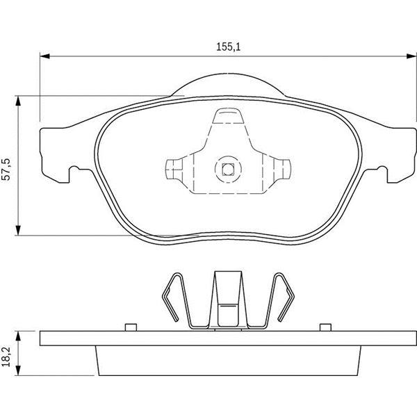 4 plaquettes de frein avant bosch bp345 feu vert. Black Bedroom Furniture Sets. Home Design Ideas