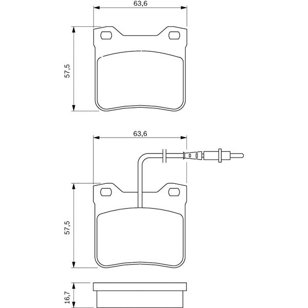 4 plaquettes de frein arri re bosch bp536 feu vert. Black Bedroom Furniture Sets. Home Design Ideas