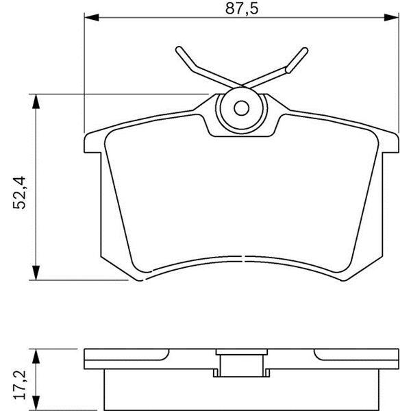 4 plaquettes de frein arri re bosch bp617 feu vert. Black Bedroom Furniture Sets. Home Design Ideas