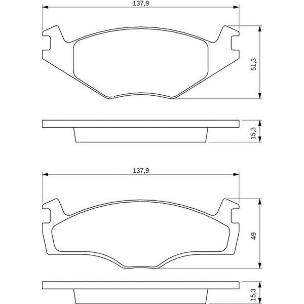 4 plaquettes de frein avant bosch bp736 feu vert. Black Bedroom Furniture Sets. Home Design Ideas