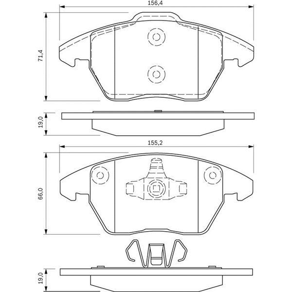 4 plaquettes de frein avant bosch bp963 feu vert. Black Bedroom Furniture Sets. Home Design Ideas