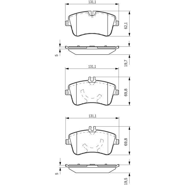 4 plaquettes de frein avant bosch bp274 feu vert. Black Bedroom Furniture Sets. Home Design Ideas