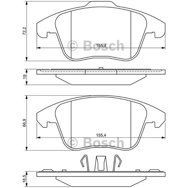 4 plaquettes de frein avant bosch bp1214 feu vert. Black Bedroom Furniture Sets. Home Design Ideas