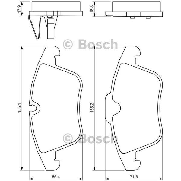 4 plaquettes de frein avant bosch bp1279 feu vert. Black Bedroom Furniture Sets. Home Design Ideas