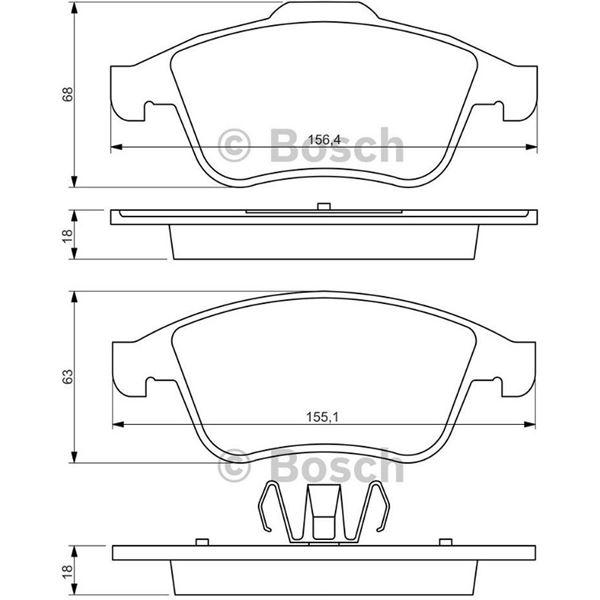 4 plaquettes de frein avant bosch bp1289 feu vert. Black Bedroom Furniture Sets. Home Design Ideas
