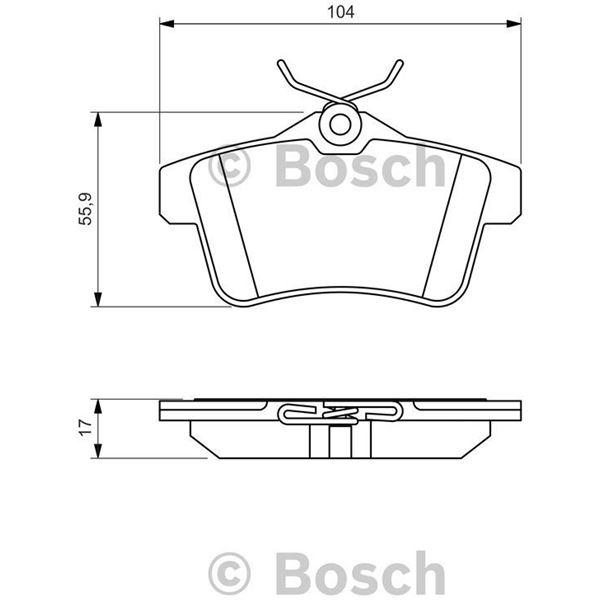 4 plaquettes de frein arri re bosch bp1359 feu vert. Black Bedroom Furniture Sets. Home Design Ideas