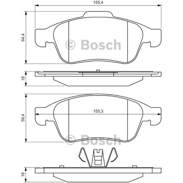 4 plaquettes de frein avant bosch bp1363 feu vert. Black Bedroom Furniture Sets. Home Design Ideas