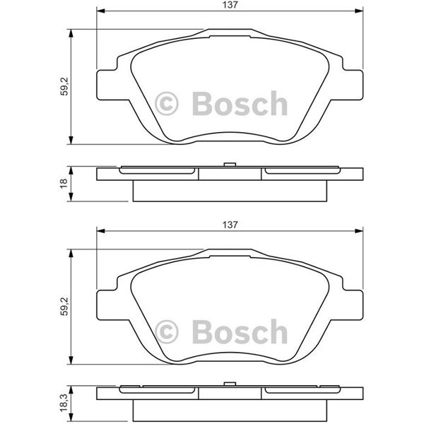 4 plaquettes de frein avant bosch bp1360 feu vert. Black Bedroom Furniture Sets. Home Design Ideas