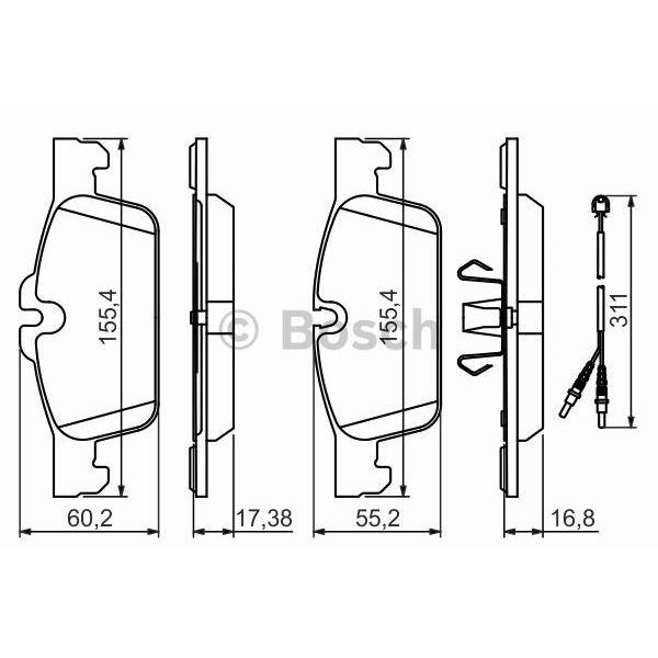4 plaquettes de frein avant bosch bp1448 feu vert. Black Bedroom Furniture Sets. Home Design Ideas