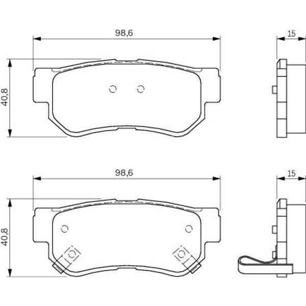 4 plaquettes de frein arri re bosch bp439 feu vert. Black Bedroom Furniture Sets. Home Design Ideas