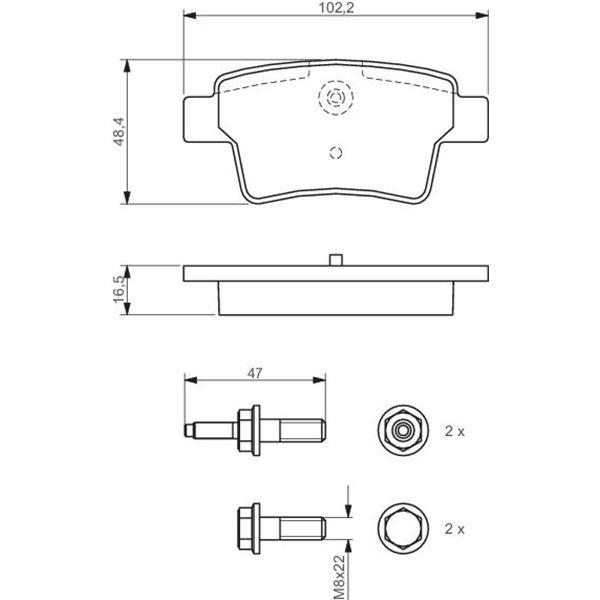 4 plaquettes de frein arri re bosch bp1110 feu vert. Black Bedroom Furniture Sets. Home Design Ideas