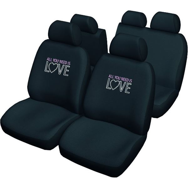 housses de si ge voiture universelles noires avec dessin all you need is love feu vert. Black Bedroom Furniture Sets. Home Design Ideas