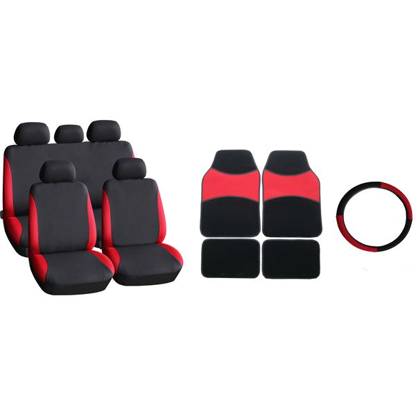 pack tapis moquette 4 pi ces housse universelle couvre volant rouge feu vert. Black Bedroom Furniture Sets. Home Design Ideas