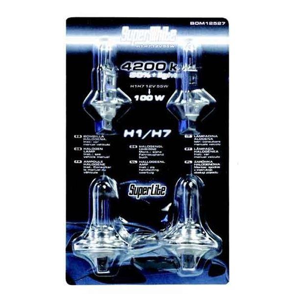 2 ampoules de feu h1 2 ampoules h7 55w super white feu vert. Black Bedroom Furniture Sets. Home Design Ideas