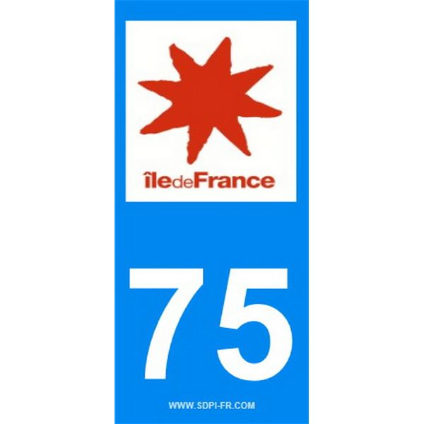 2 Stickers voiture Ile De France 75
