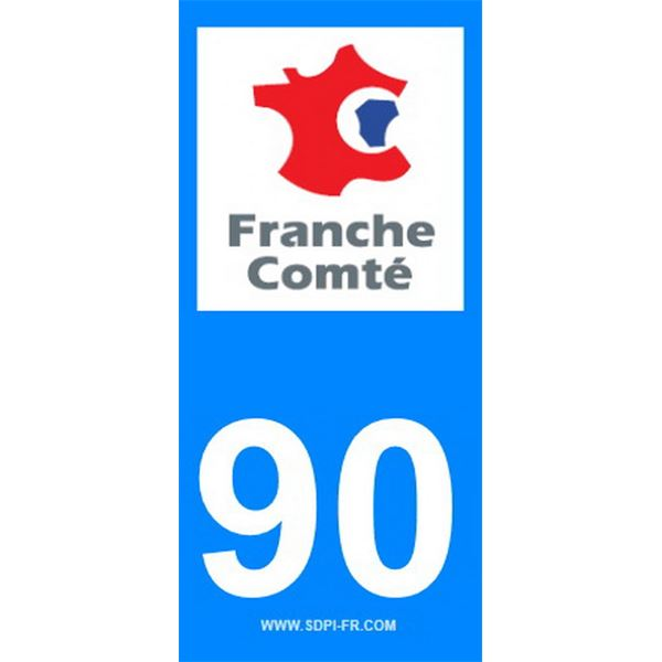 2 Stickers voiture Franche Comte 90