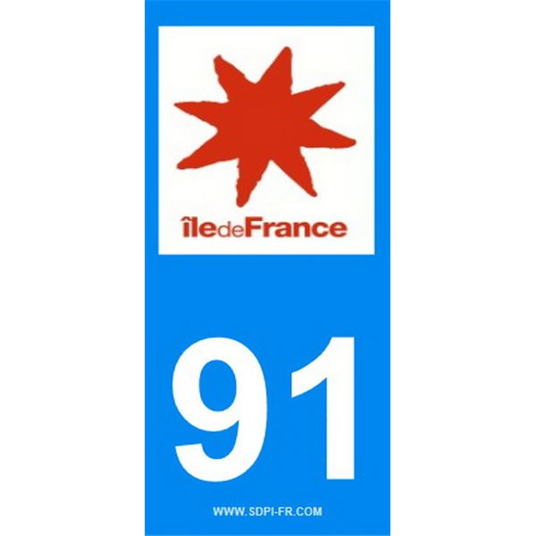 2 Stickers voiture Ile De France 91