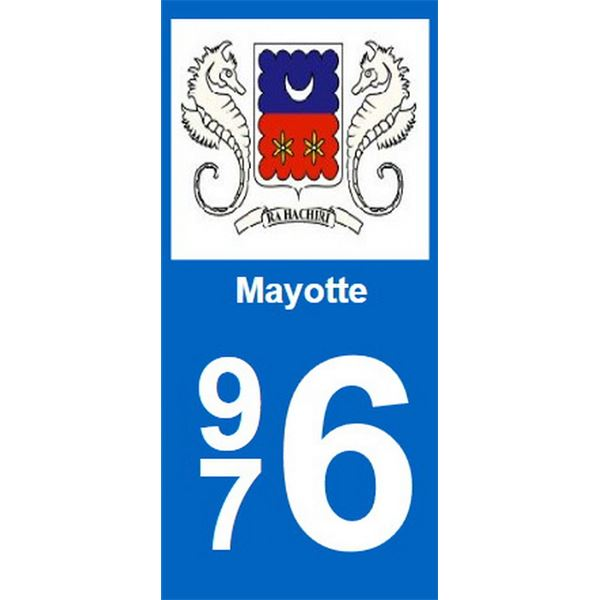 2 Stickers voiture Mayotte 976