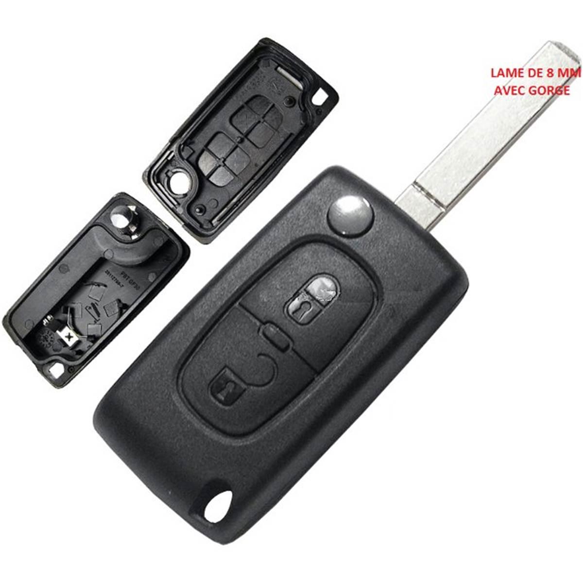 Coque de clé adaptable pour PSA ,107, 207, 307, 308, 407, C1 à C8 lame 8 mm