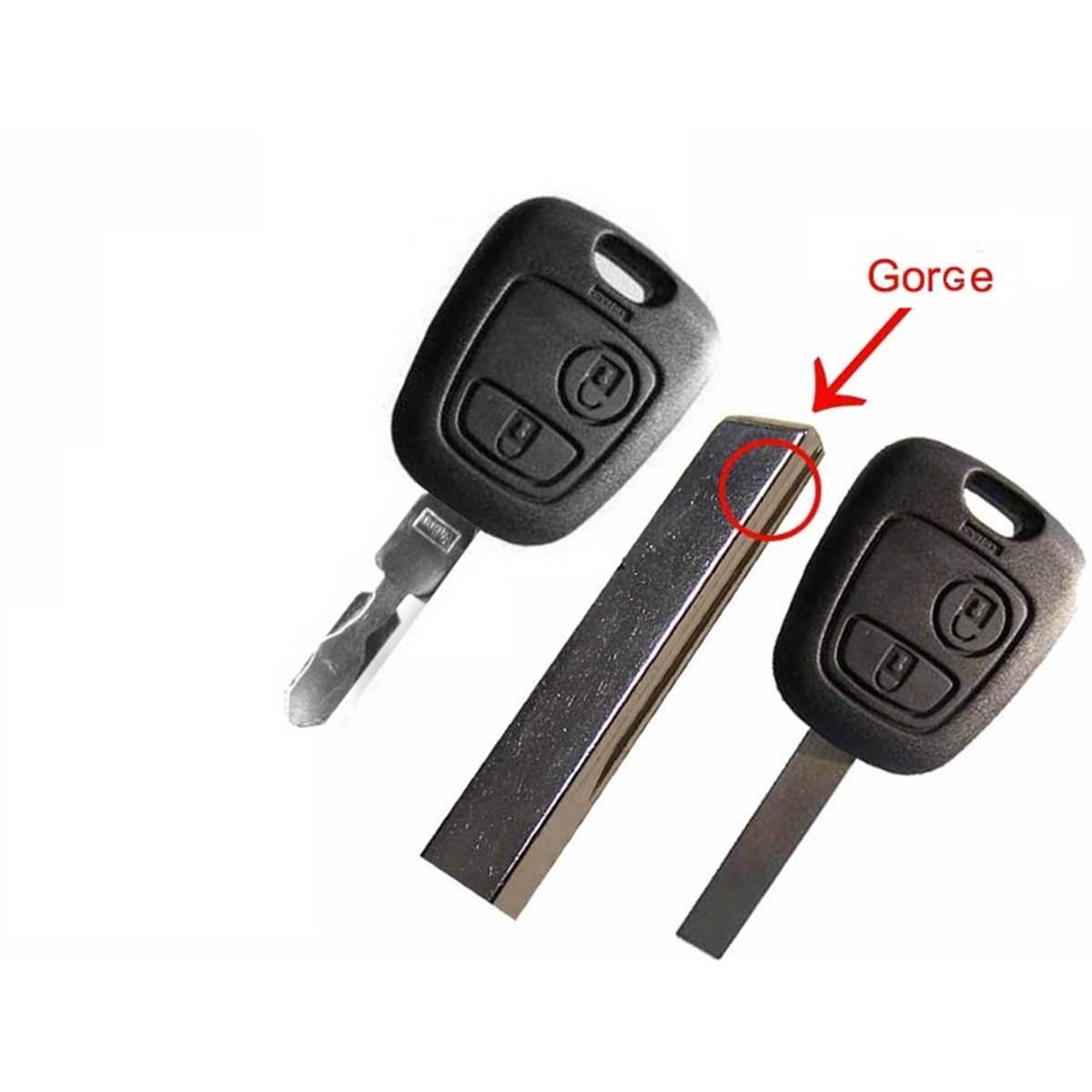 Coque de clé adaptable pour PSA 207,107, 307, C1 à C5, Toyota Aygo 2 boutons