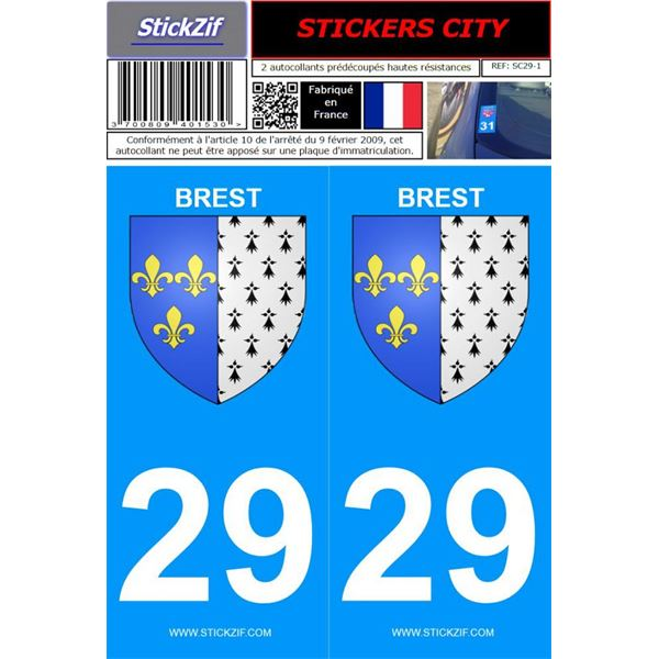 2 Stickers voiture Brest 29