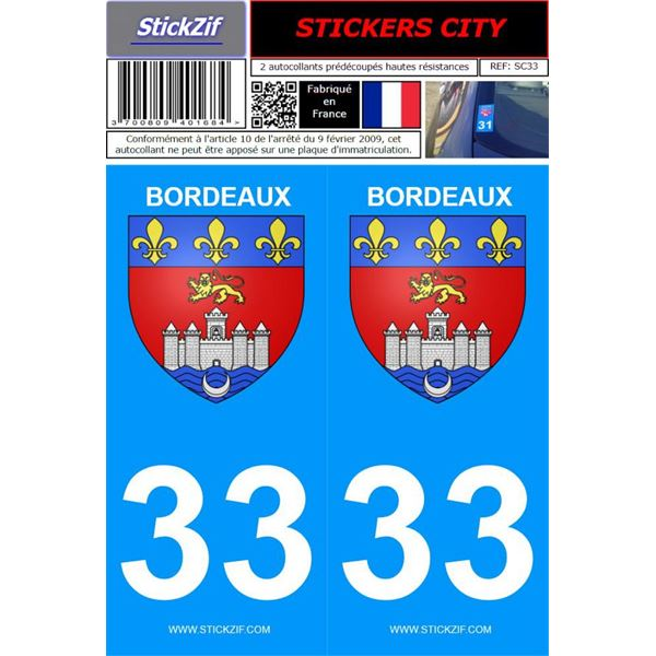 2 Stickers voiture Bordeaux 33