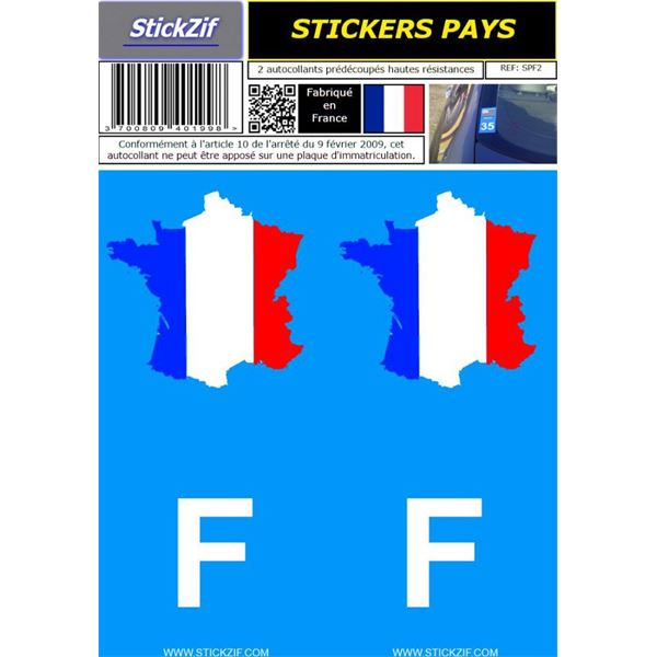 2 Stickers voiture France Pays