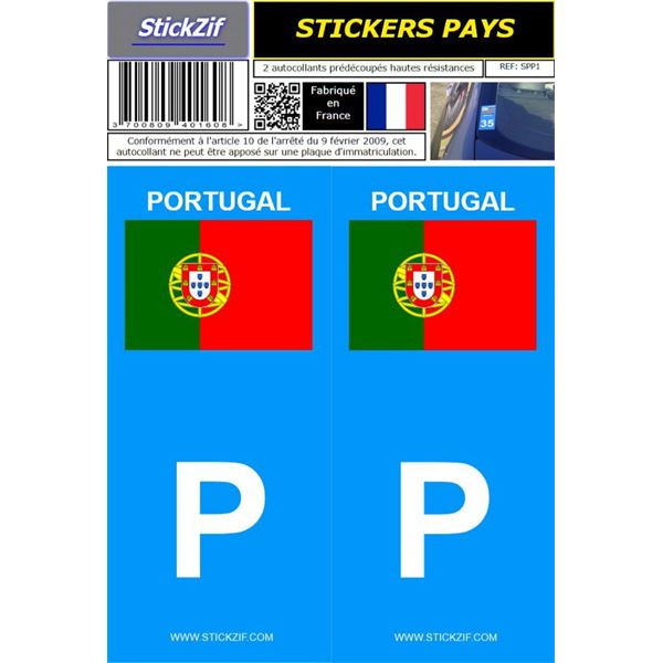2 Stickers voiture Portugal Drapeau