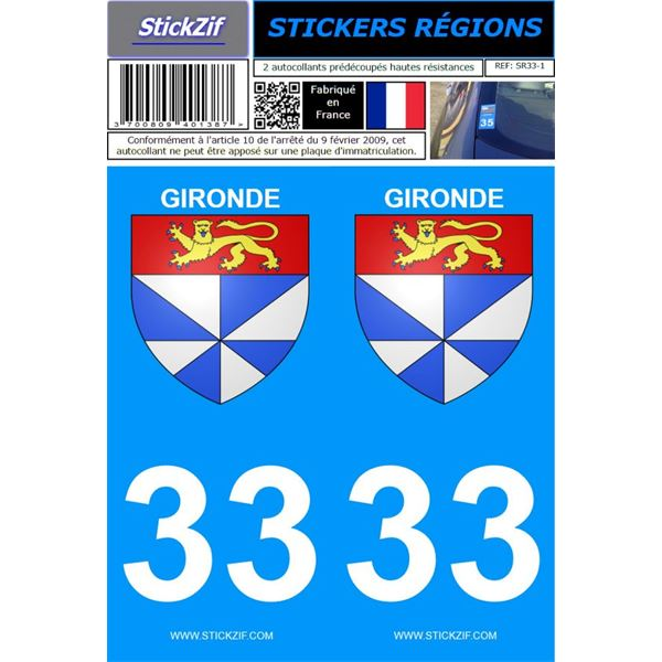2 Stickers voiture Gironde 33