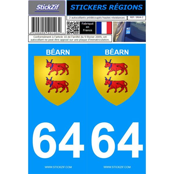 2 Stickers voiture Béarn 64