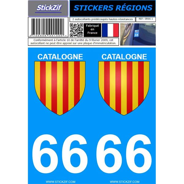 2 Stickers voiture Catalogne 66