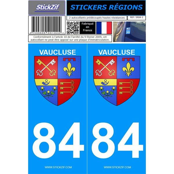 2 Stickers voiture Vaucluse 84