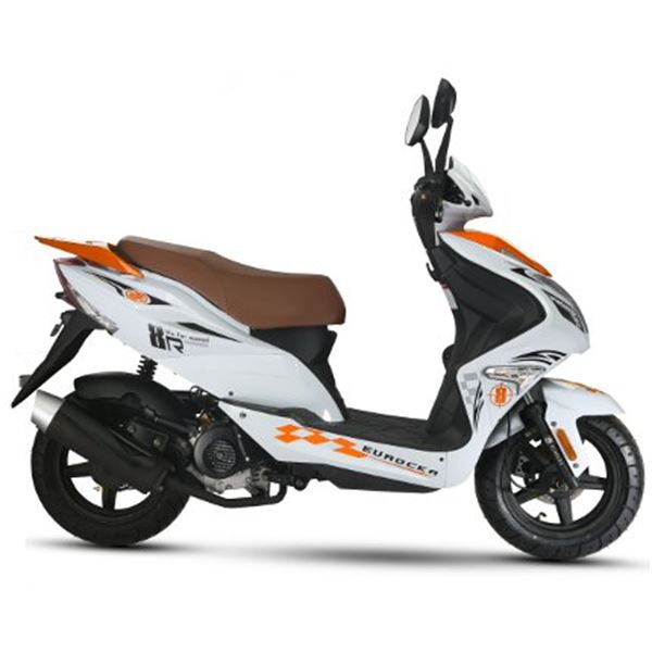 Scooter 50 cc 4T R8 blanc/ orange thermique Eurocka