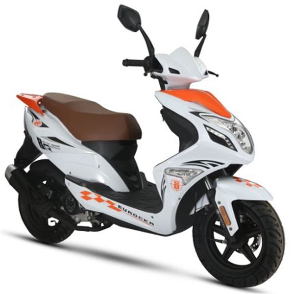 scooter 50 cc 4t r8 blanc orange thermique eurocka feu vert. Black Bedroom Furniture Sets. Home Design Ideas