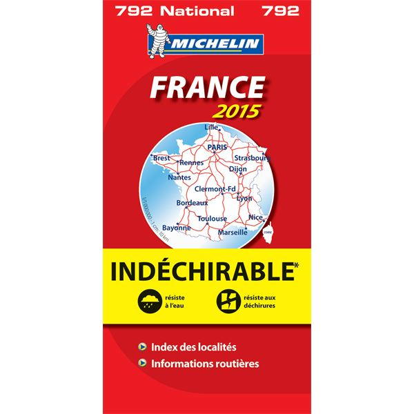 Carte de France indéchirable 2015 Michelin