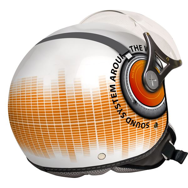 Casque moto jet Sound System gris et orange brillant Eole taille L