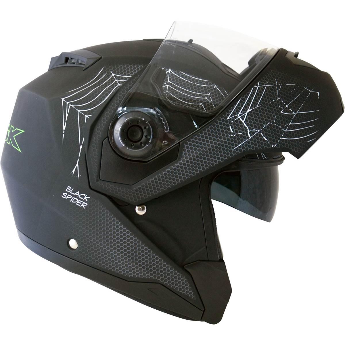 Casque Moto Modulable Black Spider Noir Mat Ksk Taille S Feu Vert